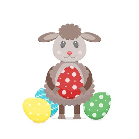 Happy Easter colourful eggs and cartoon lamb