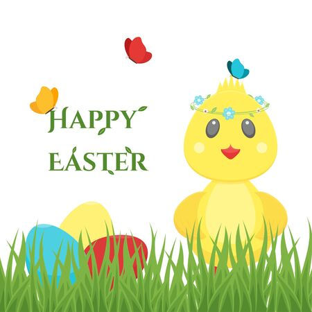 Happy Easter card with colourful eggs, chick Ilustrace