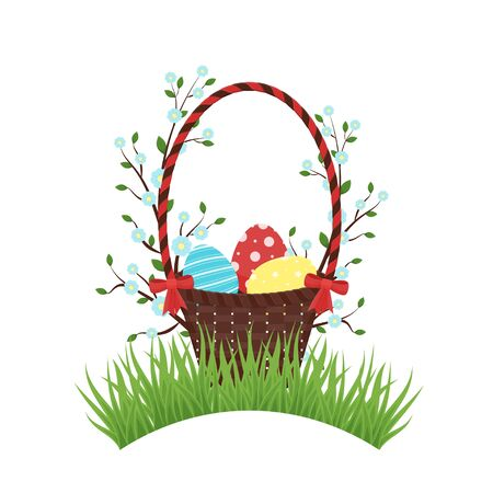 Happy Easter basket with eggs, branches, red bows
