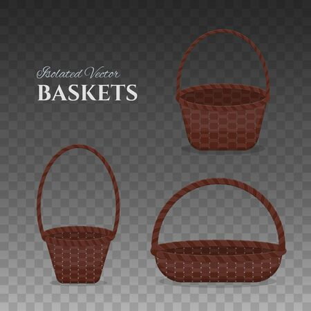 Set of empty brown wicker baskets of different shapes. Collection of elements for holiday, present, gift or picnic design. Vector isolated on background illustrations.