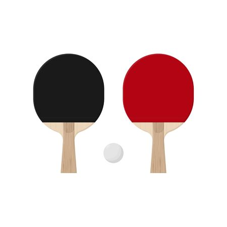 Illustration of table tennis red and black paddles and white ball.  racket from wooden blade and rubber top. Vector equipment elements isolated on white background. Ilustrace