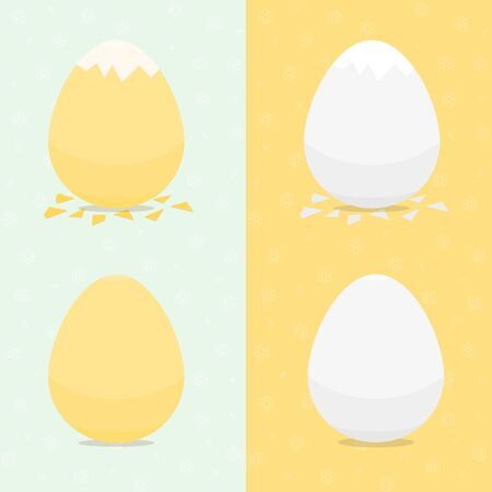 Set of fresh and boiled chicken eggs, whole and broken with egg shells. Isolated on flower pattern vector collection of elements for food design of breakfast menu, cooking element.