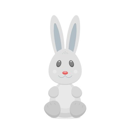 Cartoon little rabbit character isolated on white background. Sitting bunny with ears in grey colors with red nose. Vector illustration of funny animal for design.