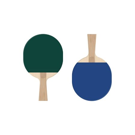 Illustration of table tennis green and blue paddles.  racket from wooden blade and rubber top. Vector equipment elements isolated on white background. Ilustrace