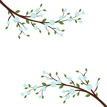 Spring or summer card template with blooming tree branche with blue flowers, green leaves. Vector isolated gentle illustration for design of holiday invitation, greeting card, banner or poster. Ilustrace