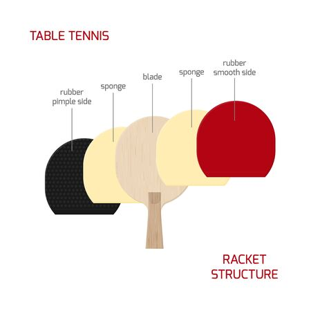 Illustration of table tennis paddle structure.  racket from wooden blade, sponge, smooth and pimpled rubber. Vector infographic isolated on white background. Ilustrace