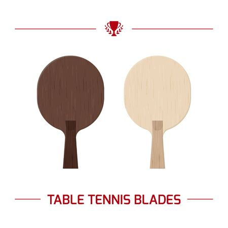 Illustration of table tennis paddle blade.  racket from wooden blade. Vector equipment elements isolated on white background. Ilustrace