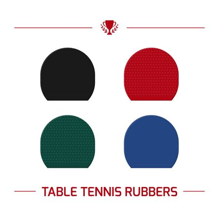 Illustration of table tennis paddle rubber.  racket smooth and pimpled top. Vector equipment elements isolated on white background.