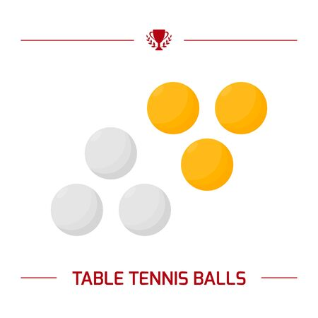 Illustration of table tennis white and yellow balls.  equipment. Vector elements isolated on white background.