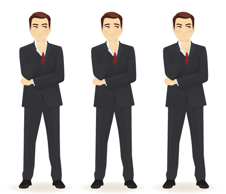 thoughtful: Set of emotions thoughtful business man isolated. Different face expressions