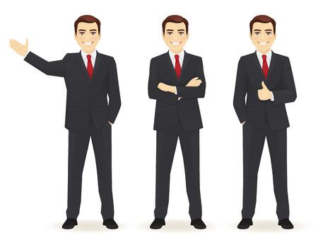 Conjunto de hombre de negocios en diferentes poses aislado. Presionando hacia arriba, mostrando y con las manos cruzadas Ilustración de vector