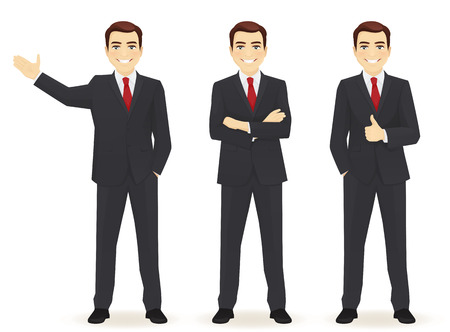 Set of business man in different poses isolated. Thumbing up, showing and with hands crossed Zdjęcie Seryjne - 59601402