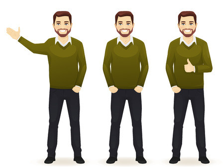 Set of standing business man in different poses wearing casual clothes isolated. Thumbing up, showing and with hands in pocket.