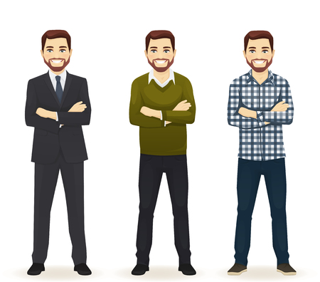 Smiling hadsome man in different style clothes with arms crossed standing isolated on white background Vectores