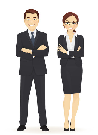 cheerfull: Business team. Cheerfull business man and woman with arms crossed isolated.