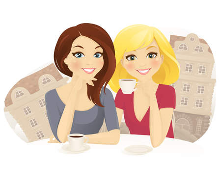 Friends in cafe. Two woman drinking coffee in street cafe Illustration