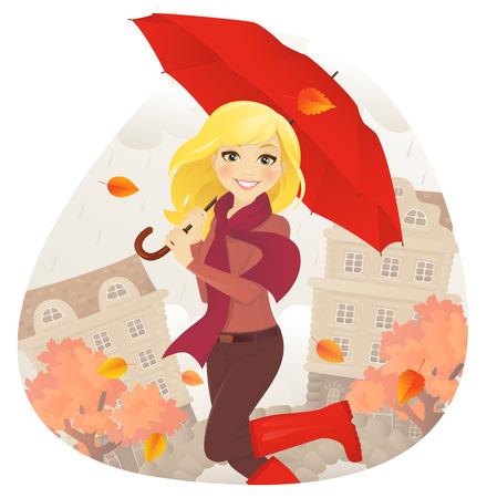 autumn woman: Cheerfull girl with umbrella on fall street
