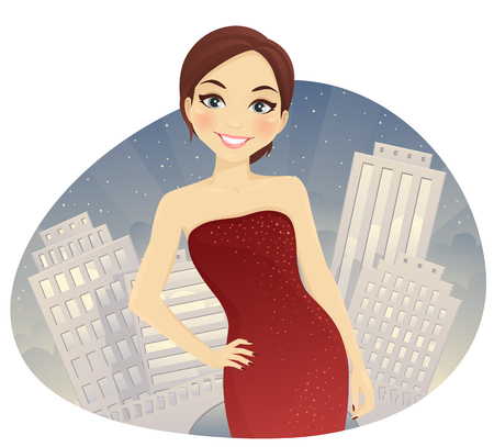 woman red dress: Beautiful woman in red dress at night city