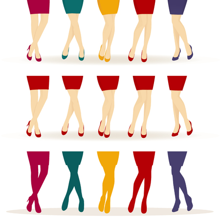female legs: Female legs with colorful shoes isolated on white background