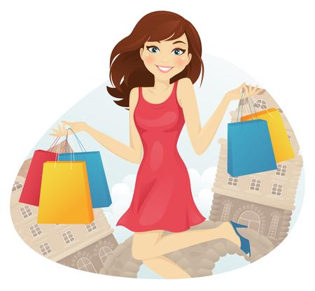 niña feliz con bolsas de compras en la calle