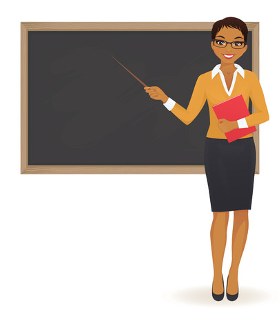 The teacher at blackboard with copy space showing