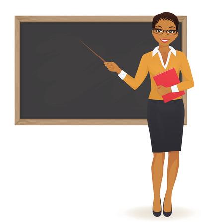 Nauczyciel przy blackboard z kopii przestrzeni seansem