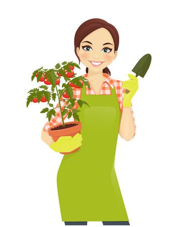 Gardening beautiful woman holding tomato plant pot Illustration
