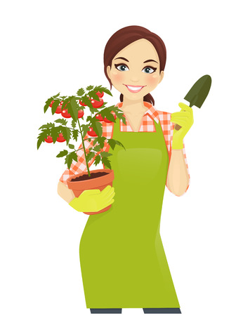 Gardening beautiful woman holding tomato plant pot Vectores
