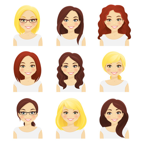 girl short hair: Set of cute girls with different hairstyles and color isolated