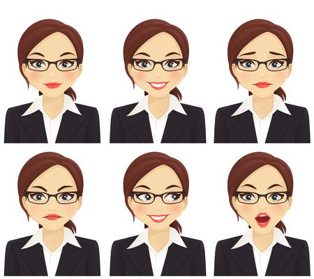 Bedrijfs vrouw met verschillende gezichtsuitdrukkingen geplaatst geïsoleerd
