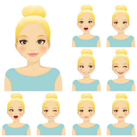 Blond woman with different facial expressions set Imagens - 60632570