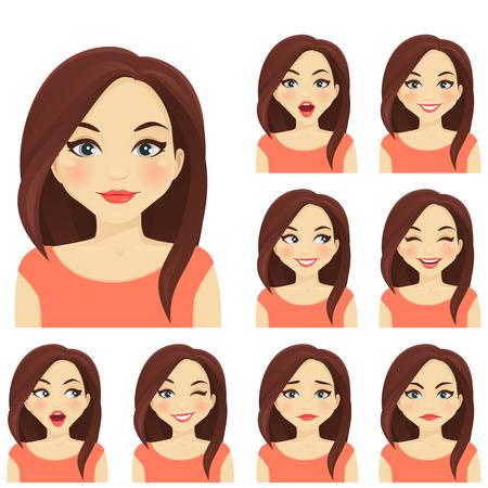 Mujer rubia con diferentes expresiones faciales establecidos Foto de archivo - 60632572
