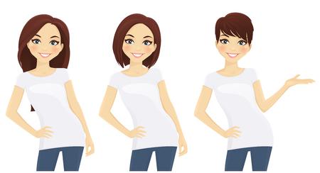 白い t シャツに別の髪型でかわいい女の子のセットします。