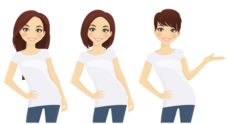 Set of cute girls with different hairstyles in white T-shirts 일러스트