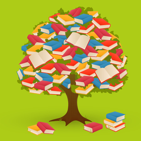 tree of knowledge: Book knowledge colorful tree on green background