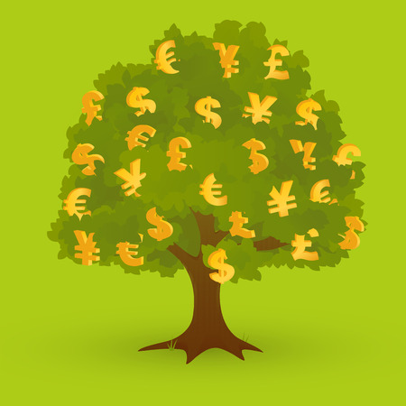grow money: Gold currency symbols on green tree on green background