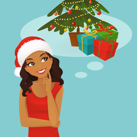 Thinking black woman in santa hat looking up on gifts