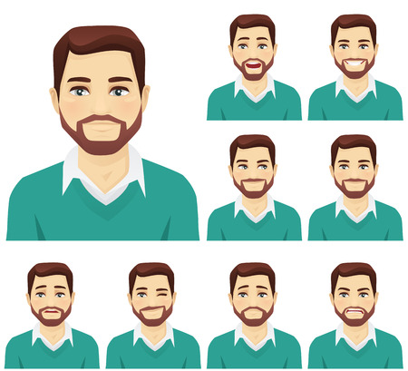 Atrakcyjne człowiek brodaty z różnych wyrażeń twarzy zestaw izolowane