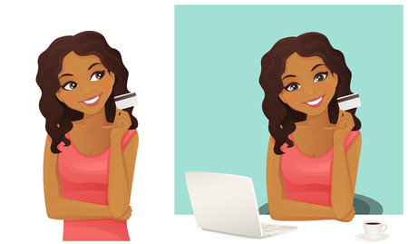 girl using laptop: Cute woman shopping on line holding credit card isolated Illustration