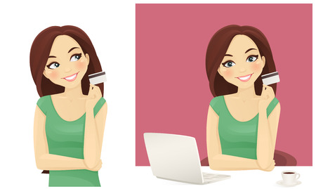 holding credit card: Cute woman shopping on line holding credit card isolated Illustration