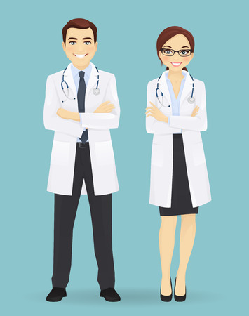 trainee: Male and female doctors isolated on blue background. Man and woman profession characters Illustration