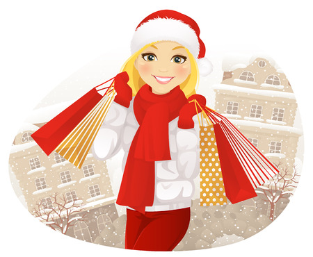 woman smiling: Winter shopping. Happy girl with shopping bags on winter street.