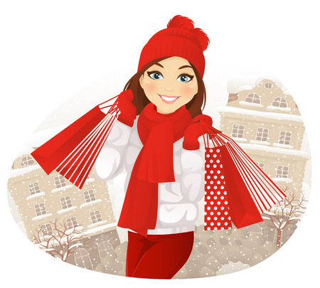 winter hat: Winter shopping. Happy girl with shopping bags on winter street.