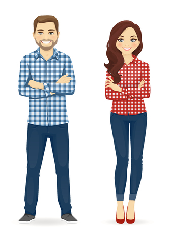 Young people in casual clothes. Cute man and girl isolated