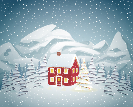 christmas house: Winter house with christmas tree at night