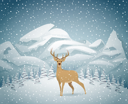 snow forest: Winter holidays mountain landscape with reindeer at night