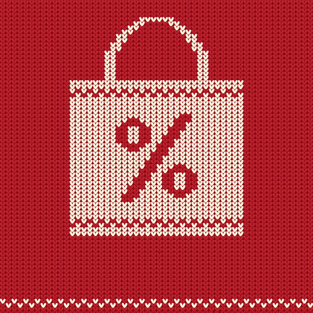 holiday shopping: Knitted red pattern with holiday shopping bag Illustration