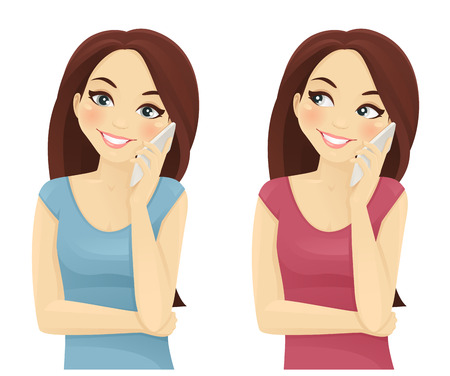 woman on cell phone: Smiling woman phone talking isolated on white background