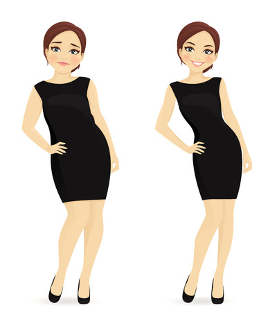 Fett und schlanke Frau, vor und nach der Gewichtsverlust im schwarzen Kleid getrennt