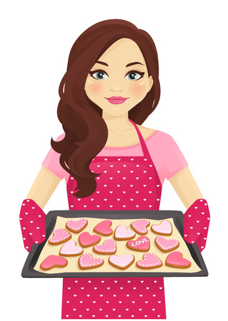 Cute woman holding baking tray with heart shape cookies decorated Valentines day isolated